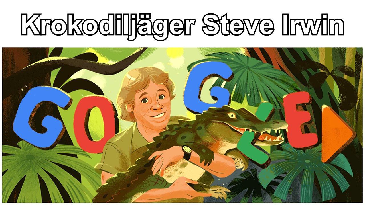 Krokodiljäger Steve Irwin (Google Doodle)