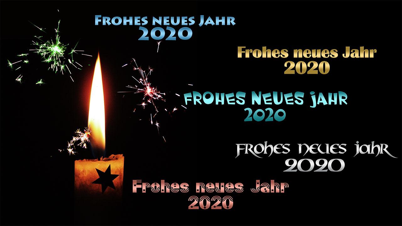 Frohes neues Jahr, Happy New Year 2020 (bunt)