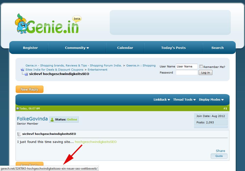hochgeschwindigkeitsSEO-Link aus einem indischen Forum (genie.in)