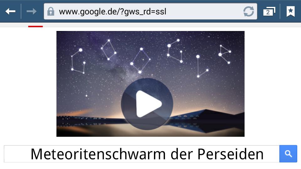 Meteoritenschwarm der Perseiden (Google-Doodle)