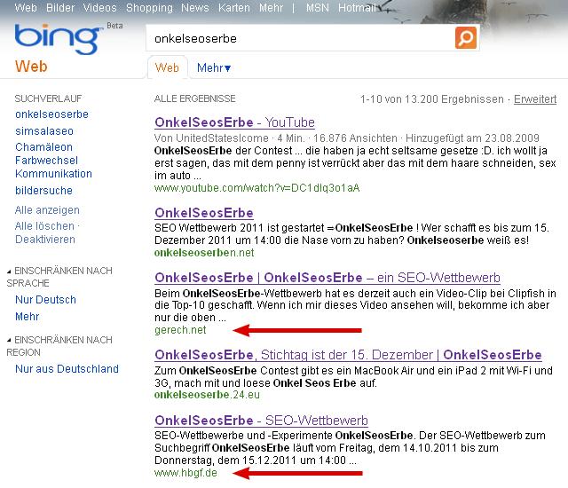 OnkelSeosErbe bei Bing am 27.10.2011