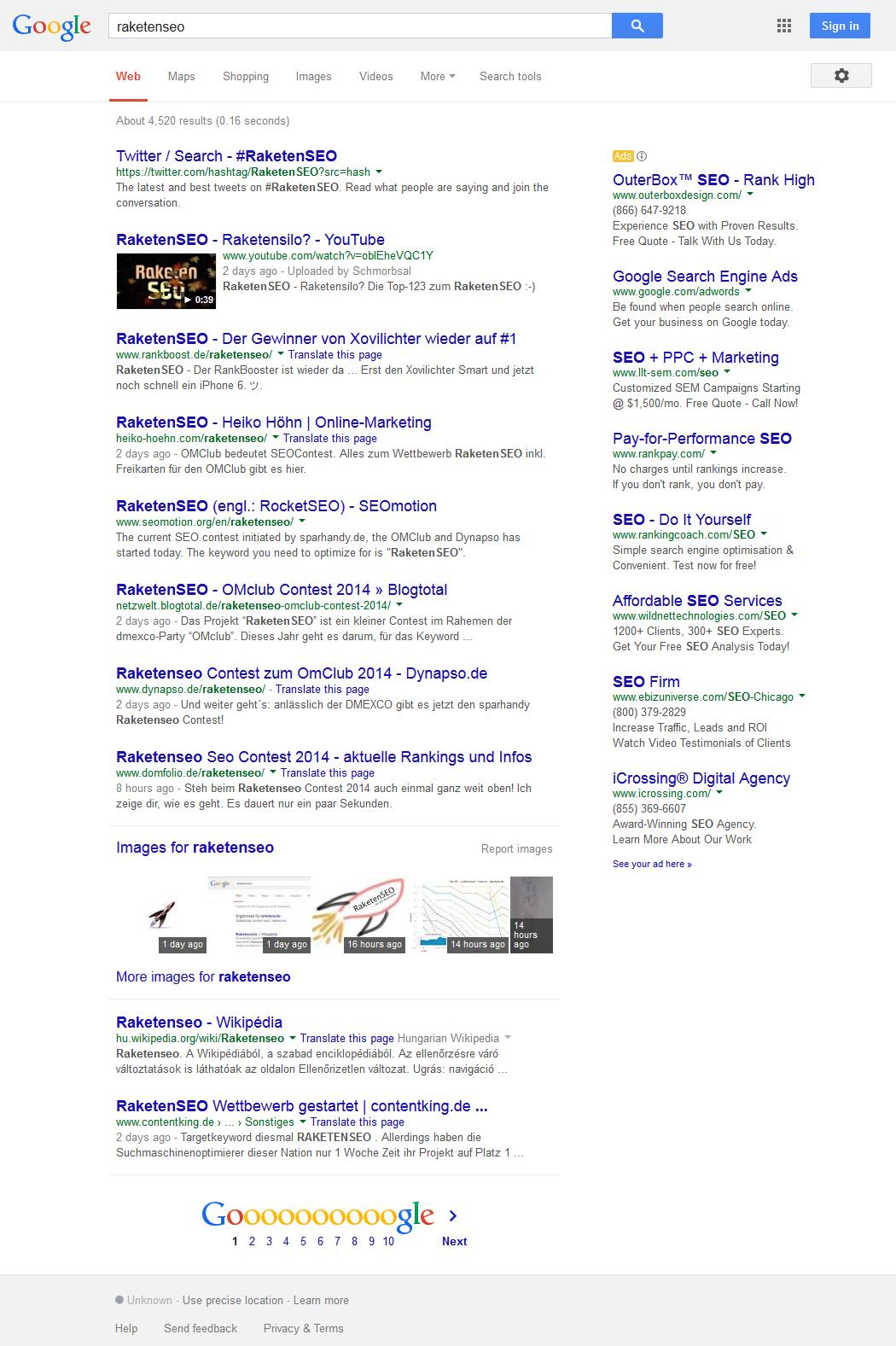 Raketenseo bei google.com (USA)
