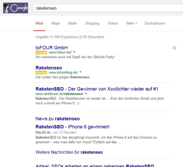 Raketenseo – Googlesuche mit Werbung und News