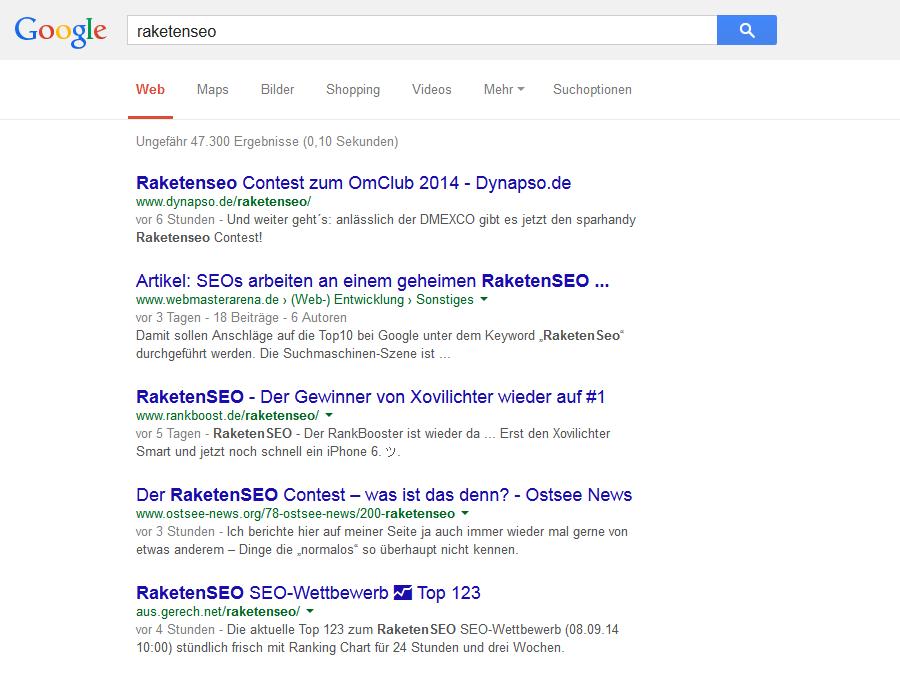 Raketenseo – Google-Suche ohne Raketensilo