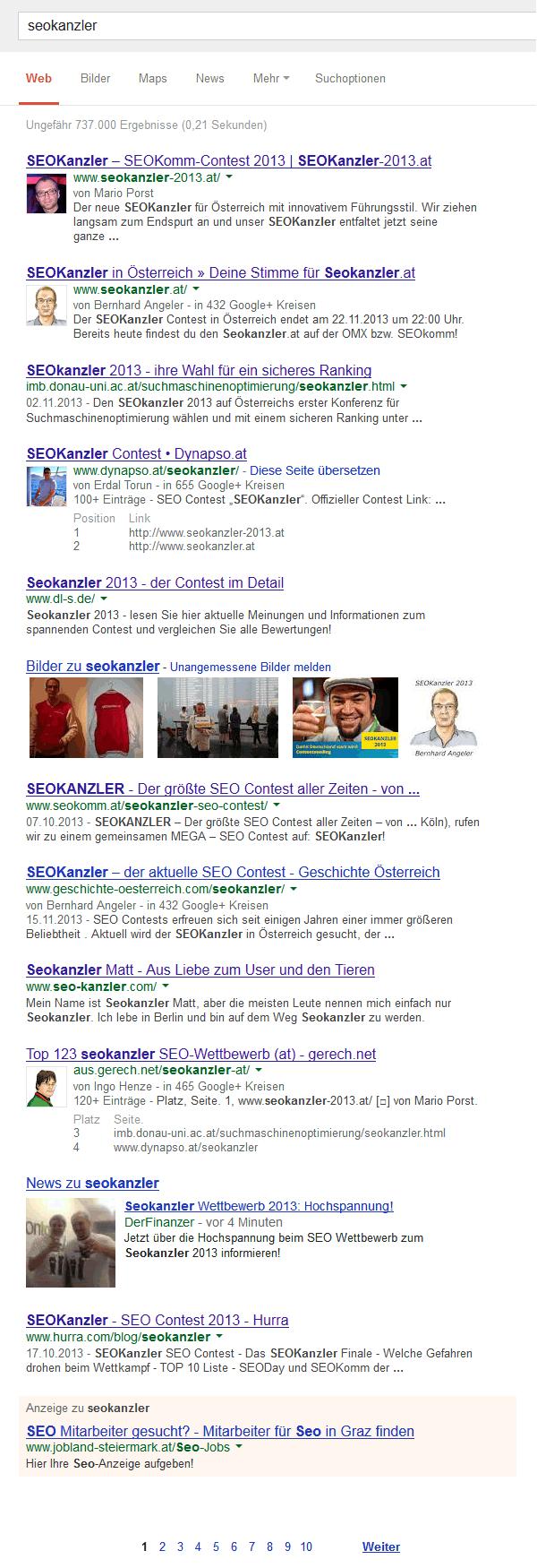 Seokanzler google.at – Zielfoto