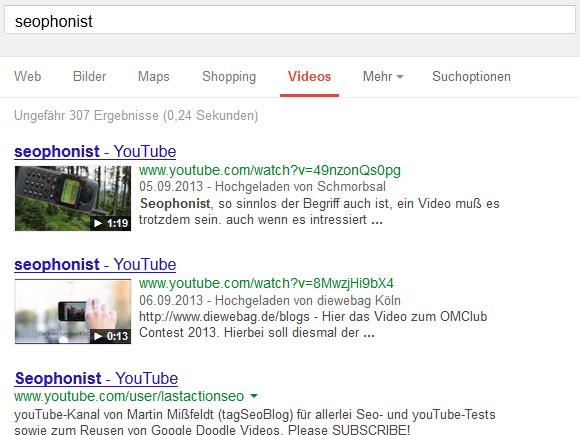 Seophonist Google Video-Suche
