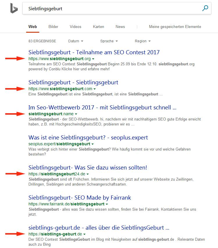 Siebtlingsgeburt – Keyworddomains bei Bing